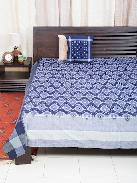 Fabindia Blue Geometric Print Double-King Size Bed Cover