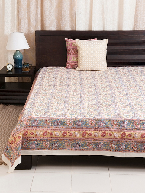 Fabindia Multicoloured Floral Print Double-King Size Bed Cover