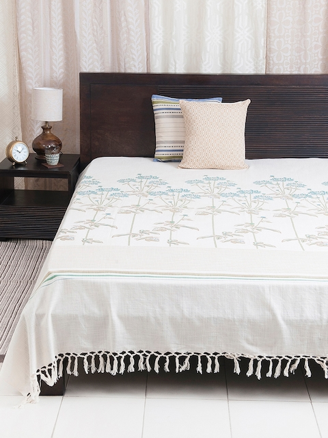 Fabindia Off-White, Beige & Teal Floral Print Double-King Size Bed Cover