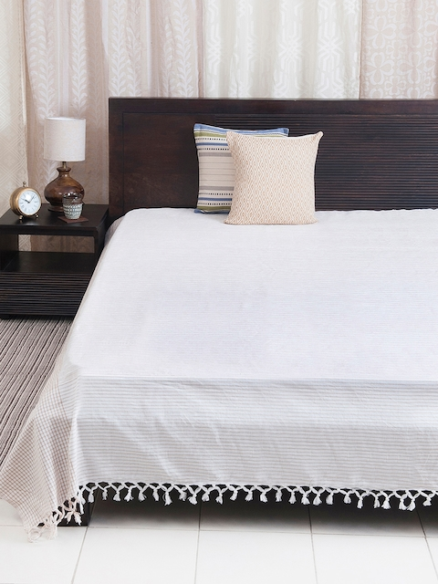 Fabindia Off-White & Beige Woven Design Double-King Size Bed Cover