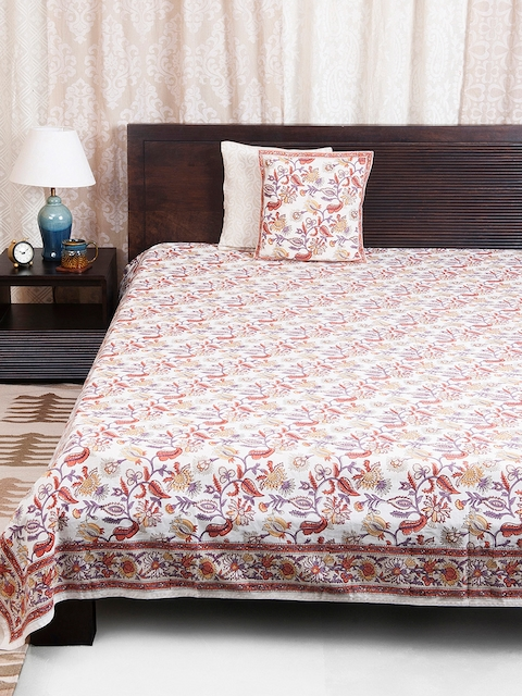 Fabindia Multicoloured Floral Print Double-Queen Size Bed Cover