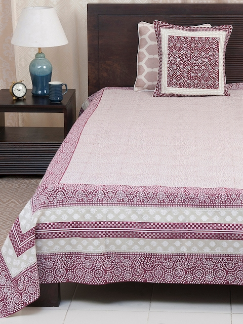 Fabindia Red, Beige & Off-White Ethnic Print Double-King Size Bed Cover