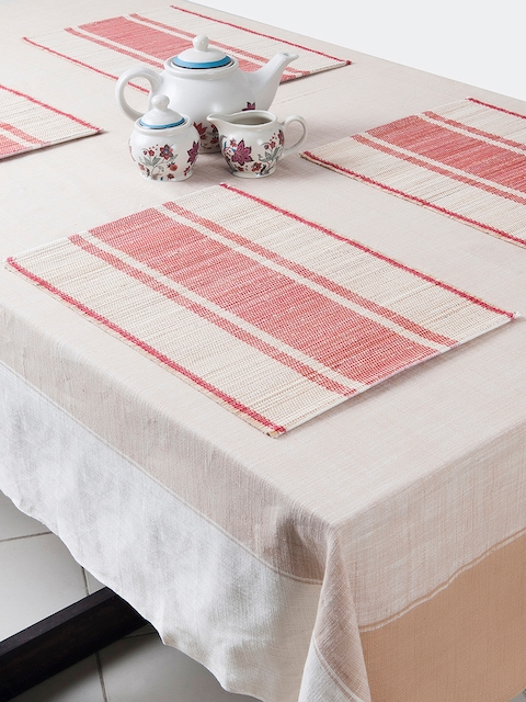 Fabindia Set of 6 Off-White & Coral Striped Tablemats