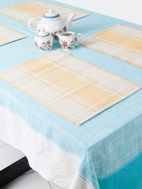Fabindia Set of 6 Off-White & Yellow Striped Tablemats