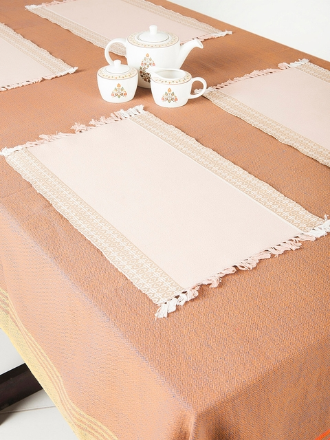 Fabindia Set of 6 Beige & Off-White Striped Tablemats