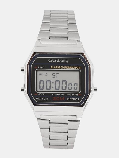 DressBerry Women Silver-Toned Digital Watch MFB-PN-SKM