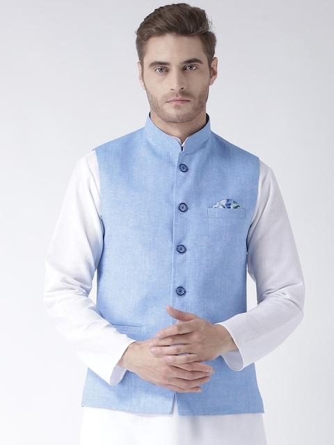Hangup Men Blue Woven Linen Blend Nehru Jacket