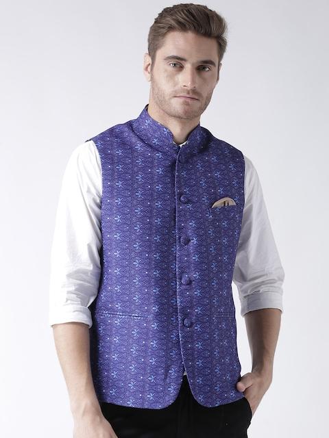 Hangup Men Blue Woven Printed Nehru Jacket