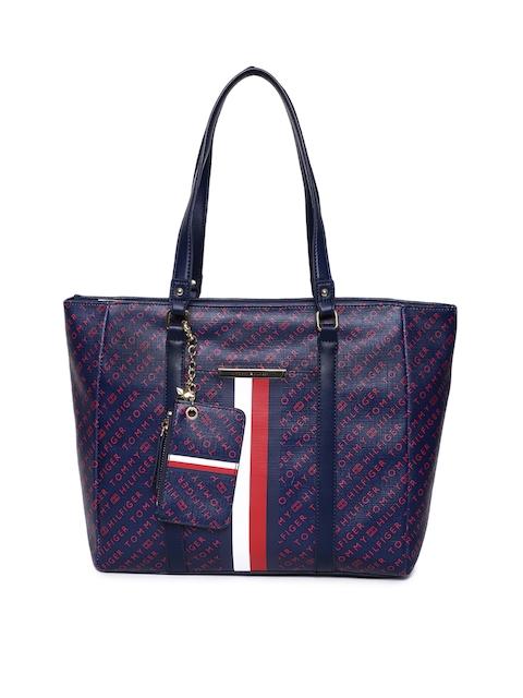 Tommy Hilfiger Navy Blue Printed Shoulder Bag