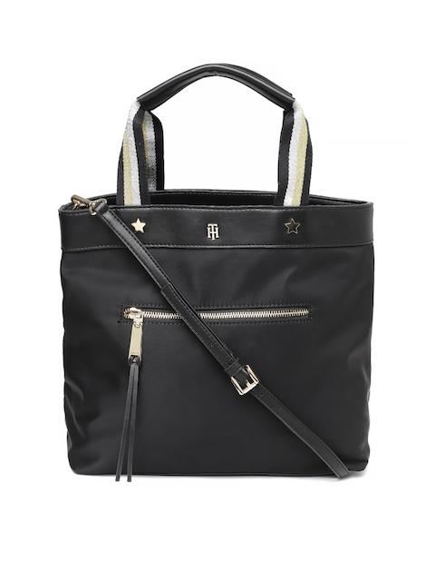 Tommy Hilfiger Black Solid Handheld Bag