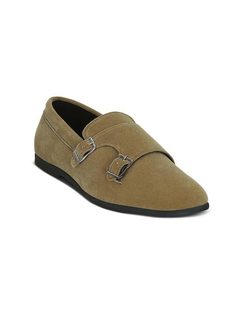 Get Glamr Men Khaki-Coloured Monk Shoes