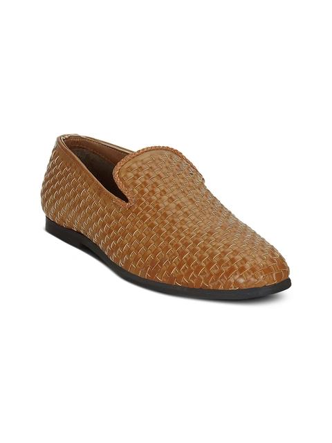 Get Glamr Men Tan-Brown Semi-Formal Slip-Ons
