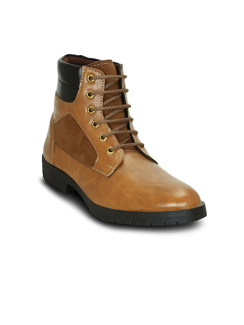 Get Glamr Men Tan Colourblocked Synthetic Leather Mid-Top Flat Boots