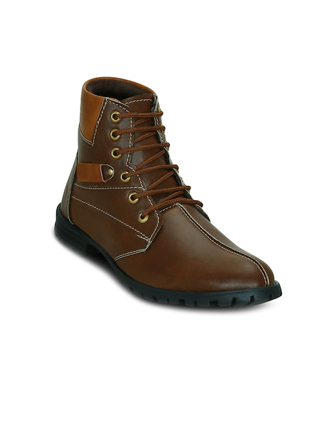Get Glamr Men Brown Colourblocked Synthetic Leather Mid-Top Flat Boots