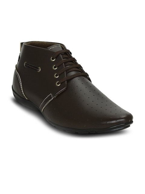 Get Glamr Men Brown Perforations Synthetic Leather Mid-Top Flat Boots