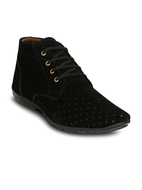 Get Glamr Men Black Perforations Synthetic Suede Mid-Top Flat Boots