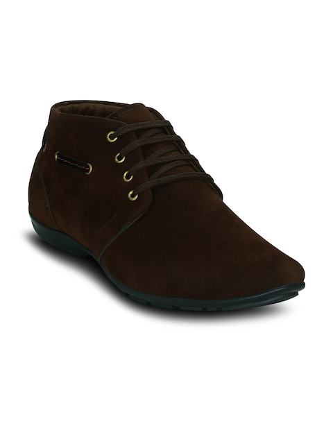 Get Glamr Men Brown Solid Synthetic Suede Mid-Top Flat Boots