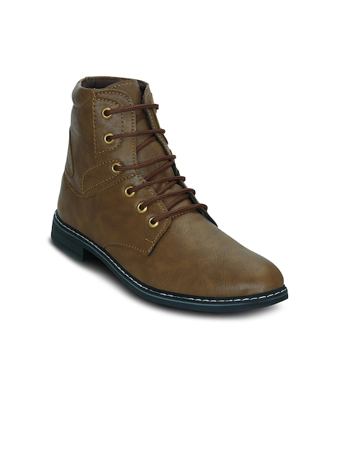 Get Glamr Men Brown Solid Synthetic Leather Mid-Top Flat Boots