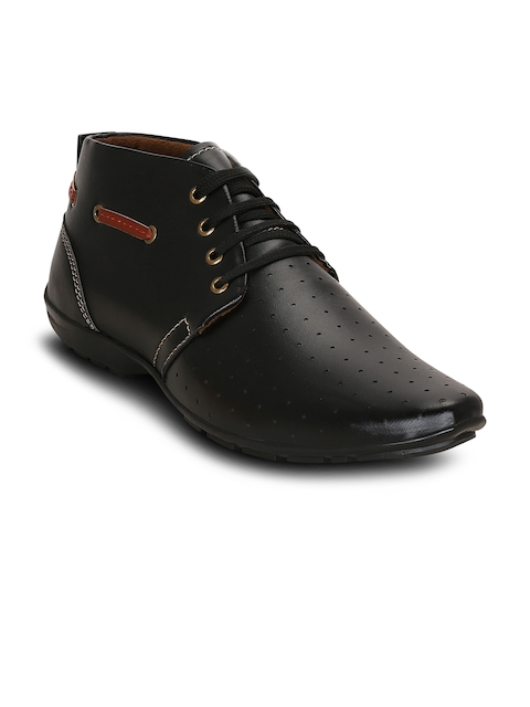 Get Glamr Men Black Perforations Synthetic Leather Mid-Top Flat Boots