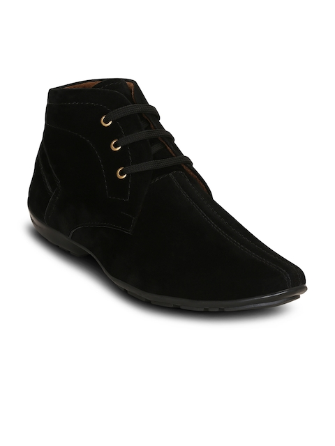 Get Glamr Men Black Solid Synthetic Suede Mid-Top Flat Boots