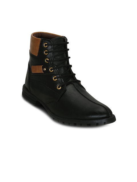 Get Glamr Men Black Colourblocked Synthetic Leather Mid-Top Flat Boots