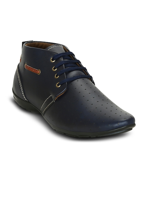 Get Glamr Men Blue Perforations Synthetic Leather Mid-Top Flat Boots