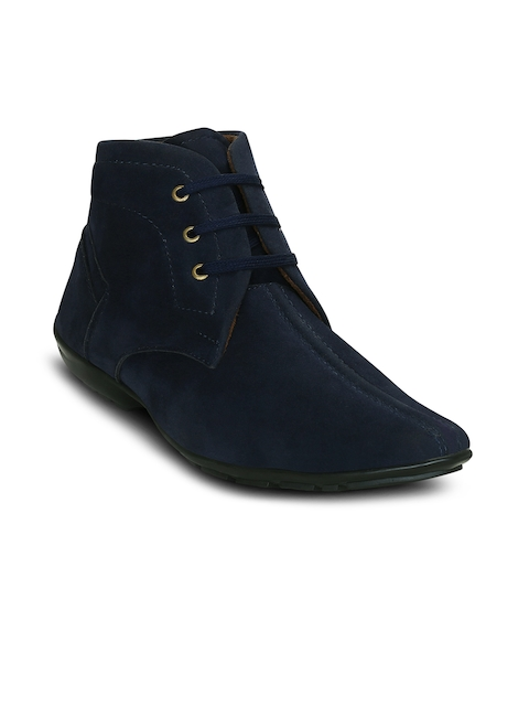 Get Glamr Men Blue Solid Synthetic Suede Mid-Top Flat Boots