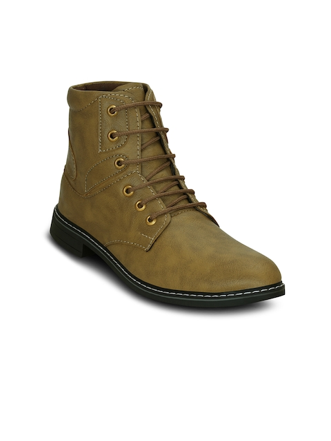 Get Glamr Men Olive Green Solid Synthetic Leather Mid-Top Flat Boots