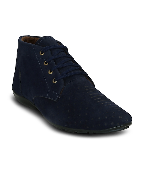 Get Glamr Men Blue Perforations Synthetic Suede Mid-Top Flat Boots