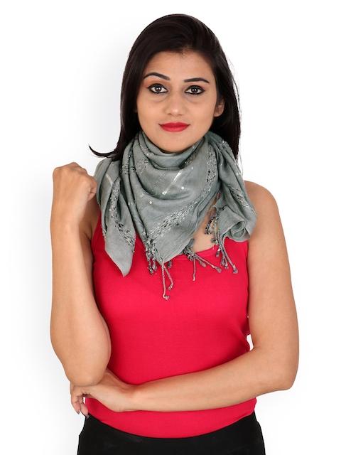 Anekaant Women Grey Woven Design Stole