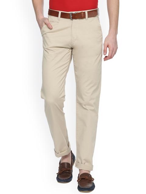 Peter England Casuals Men Beige Slim Fit Solid Regular Trousers
