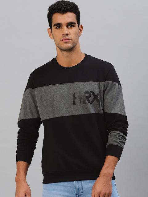 HRX by Hrithik Roshan Men Black & Charcoal Grey Colourblocked Sweatshirt