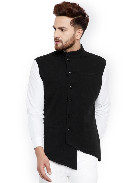 Hypernation Men Black Solid Nehru Jacket