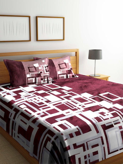 Romee Burgundy 120 TC Polycotton Reversible Bed Cover with 2 Pillow Covers