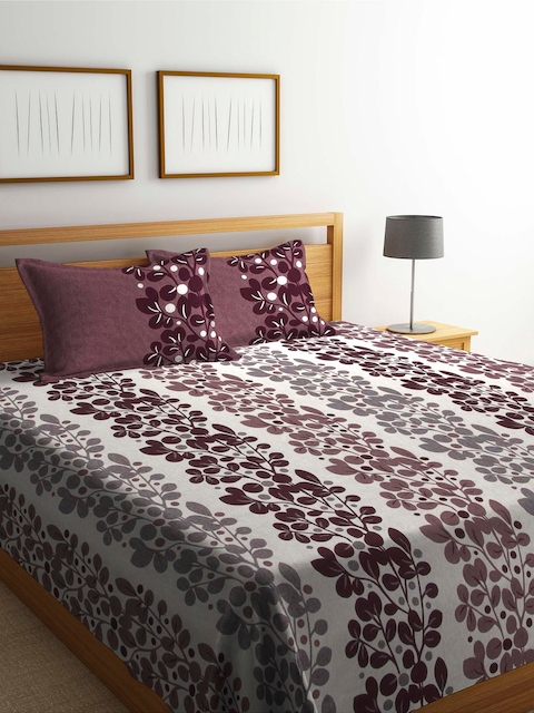 Romee Burgundy 120 TC Polycotton Bed Cover with 2 Pillow Covers