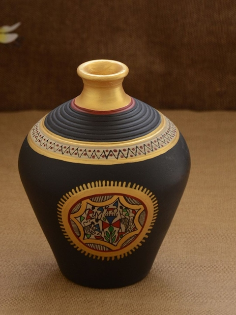 Unravel India Warli Black Hand Painted Teracotta Pot