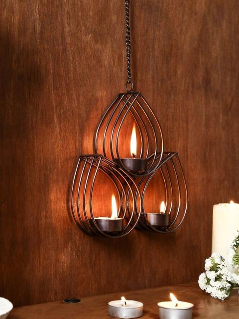 Unravel India Copper Toned Metallic Hanging Tea Light