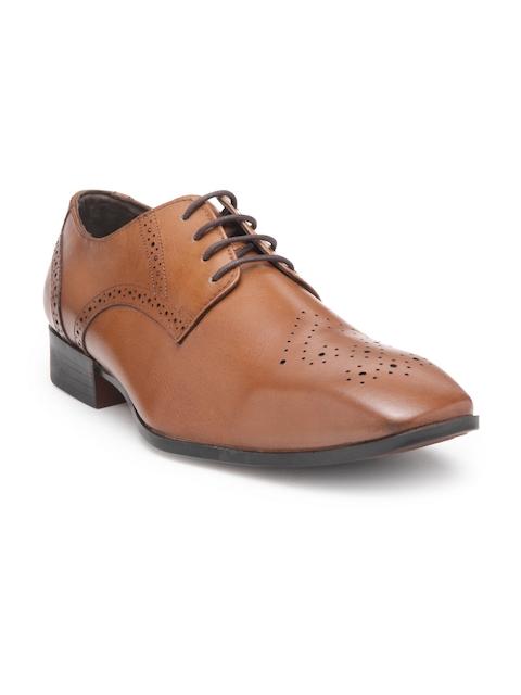 Teakwood Men Tan Leather Formal Derbys