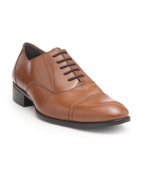 Teakwood Men Tan Leather Formal Oxford Shoes