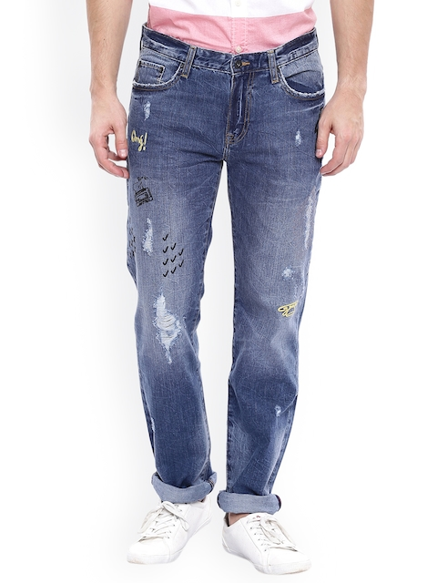 Aeropostale Men Blue Regular Fit Mid-Rise Mildly Distressed Jeans