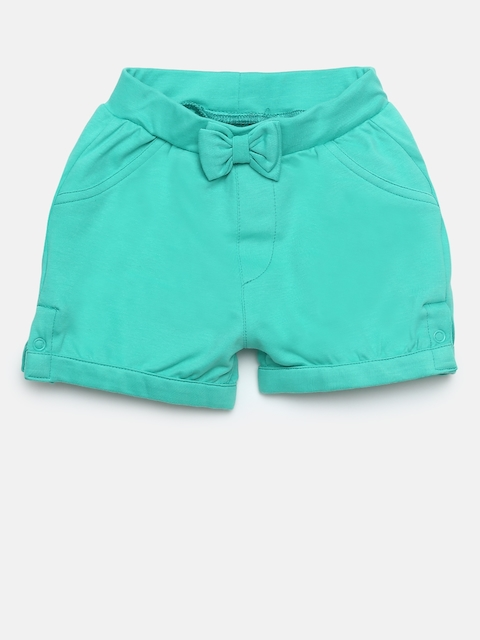 Gini and Jony Girls Green Solid Regular Fit Shorts