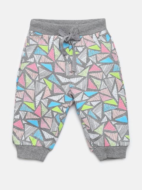 Gini And Jony Kids Boys Grey & Pink Geometric Print Joggers