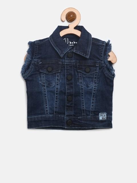 Gini and Jony Boys Navy Solid Sleeveless Denim Jacket