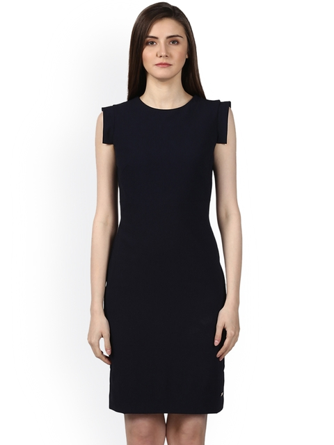 Park Avenue Women Navy Blue Checked Fit and Flare Dress