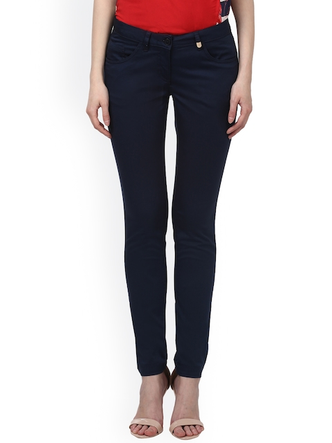 Park Avenue Women Blue Tapered Fit Solid Chinos