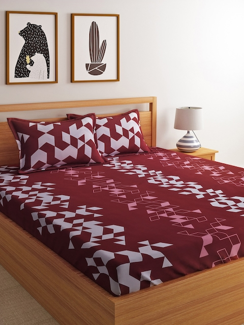 Dreamscape Maroon Geometric Flat 144 TC 1 Double Queen Bedsheet with 2 Pillow Covers