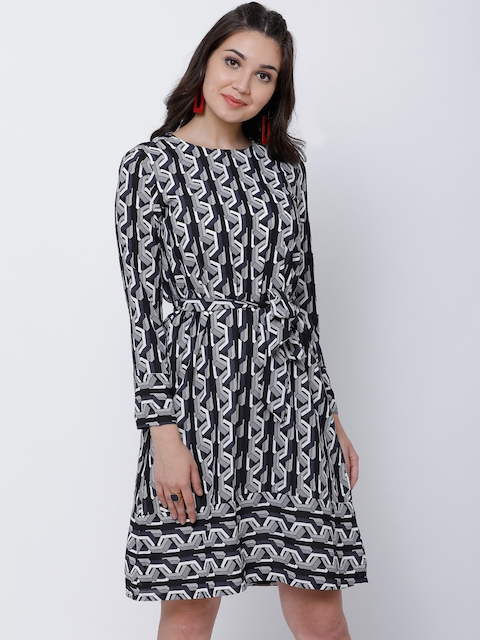 Tokyo Talkies Women Black Printed A-Line Dress