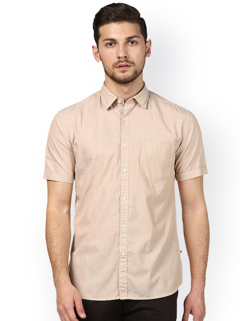 Parx Men Beige Slim Fit Solid Casual Shirt