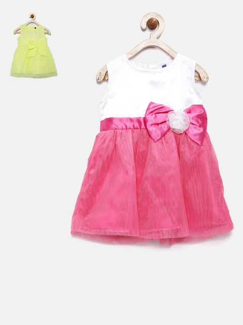 Yellow Kite Girls Pack of 2 Yellow, White & Pink Dress