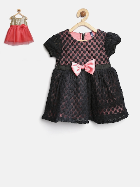 YK Baby Girls Pack of 2 Coral Red & Black Dress
